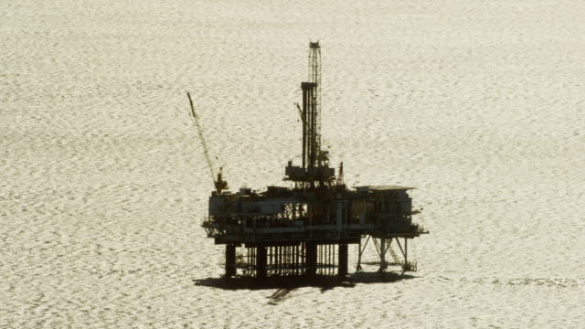 Aerial view of oil rig offshore Los Angeles