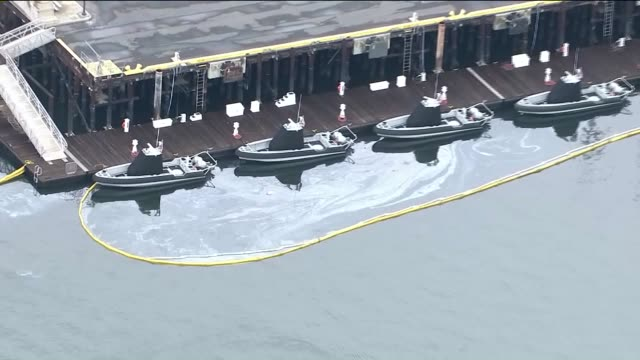 aerial view of oil spill at port of los angeles - port of los angeles stock videos & royalty-free footage