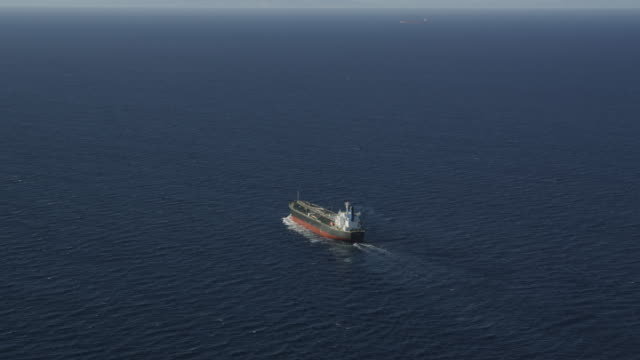 aerial view of oil tanker, RED R3D 4k
