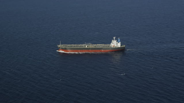 aerial view of oil tanker, red r3d 4k - oil tanker stock videos and b-roll footage