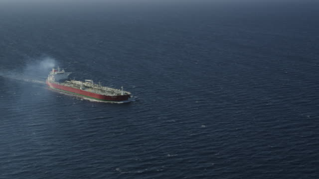 aerial view of oil tanker, red r3d 4k - tanker stock videos & royalty-free footage