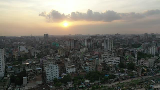 aerial view of old dhaka city in bangladesh - dhaka stock videos & royalty-free footage