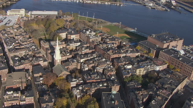 aerial view of old north church in downtown boston, massachusetts, united states of america - old north church stock videos & royalty-free footage