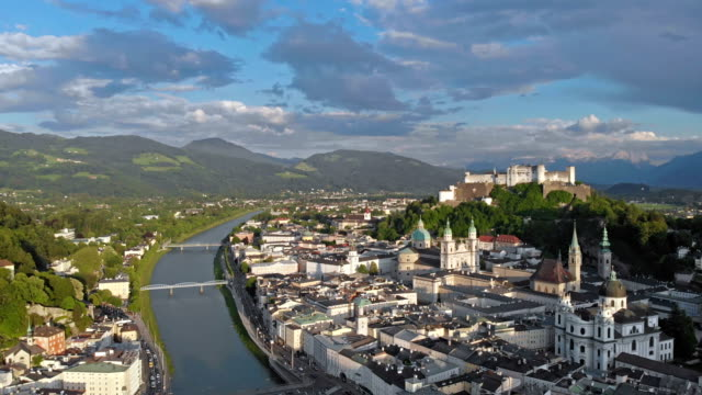 aerial view of old salzburg - baroque stock videos & royalty-free footage