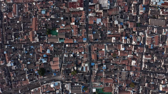 aerial view of old shanghai residential area - urban sprawl stock videos & royalty-free footage