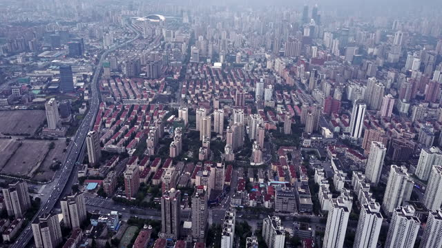 aerial view of old shanghai residential area - china east asia stock videos & royalty-free footage