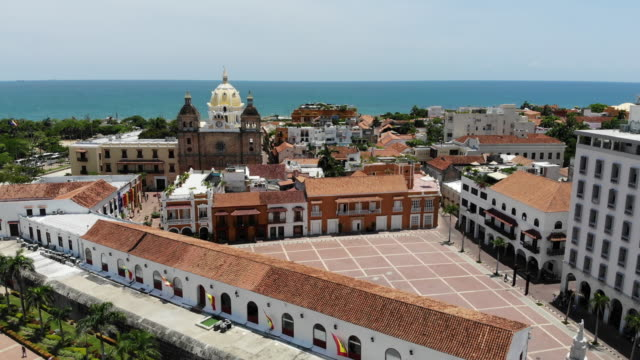 aerial view of old town district in cartagena colombia - cathedral stock videos & royalty-free footage