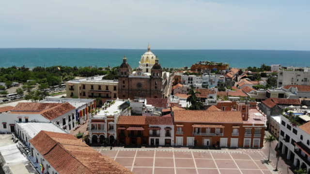 aerial view of old town district in cartagena colombia - colombia stock videos & royalty-free footage