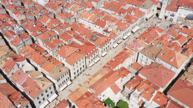 aerial view of old town in dubrovnik, croatia - old town stock videos & royalty-free footage