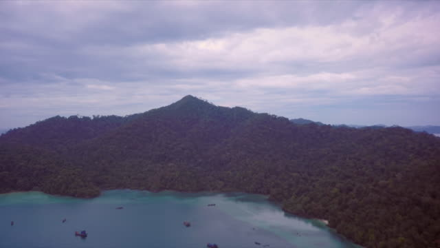 aerial view of one the burmese islands in the archipelago in the andaman sea - myanmar stock videos & royalty-free footage