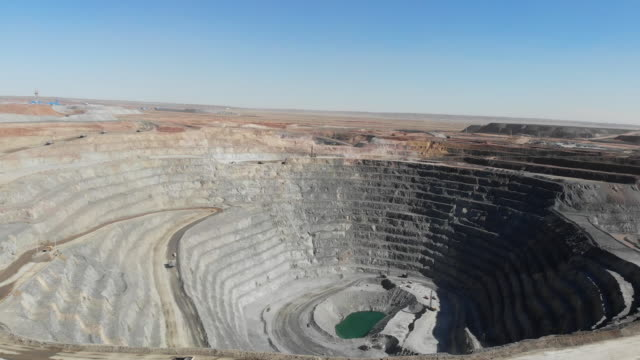 Aerial view of open pit at Oyu Tolgoi Gold and Copper Mine in Khanbogd Mongolia on Saturday September 22 2018