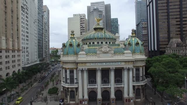 巴西里約熱內盧歌劇院鳥瞰圖 - 紀念歷史建築物 個影片檔及 b 捲影像