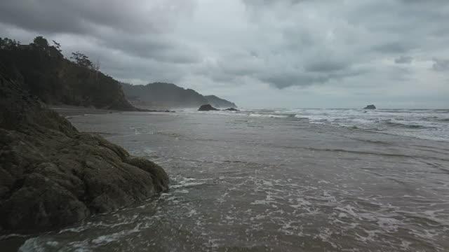 aerial view of oregon coast - oregon coast stock videos & royalty-free footage