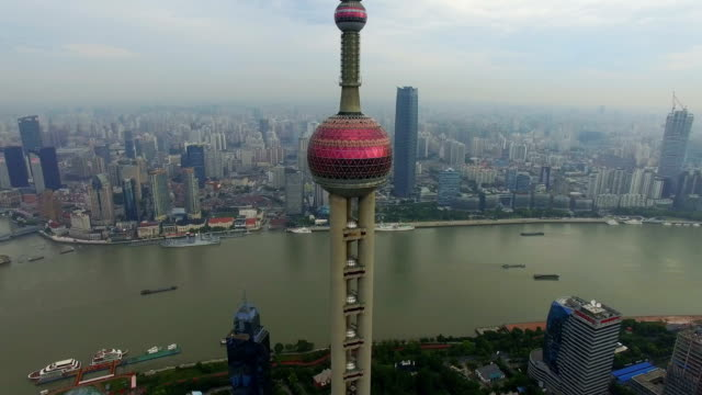 Aerial View of Oriental Pearl Tower and the Bund of Shanghai/Shanghai.China.