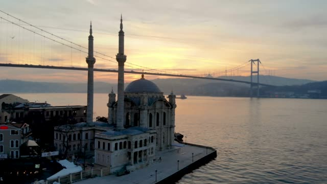 aerial view of ortakoy mosque and bosphorus bridge - istanbul stock videos & royalty-free footage