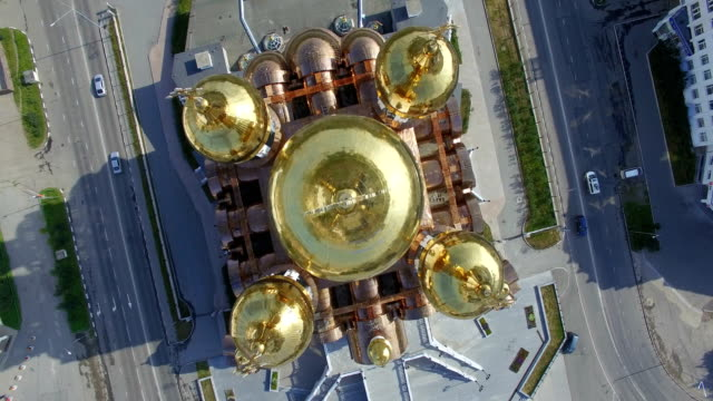 aerial view of orthodox church,magadan,russia. - dome stock videos & royalty-free footage
