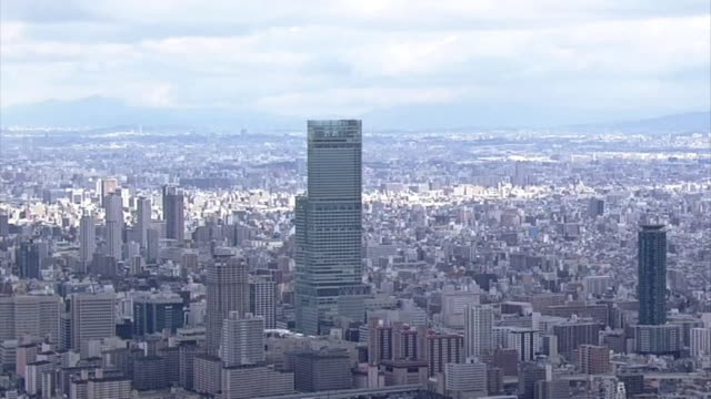 aerial view of osaka city. - präfektur osaka stock-videos und b-roll-filmmaterial