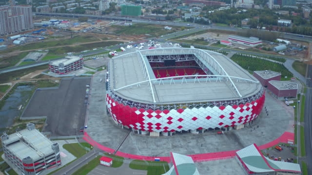 Aerial view of Otkrytiye Arena football stadium in Moscow