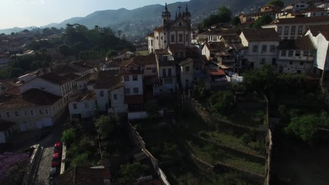 aerial view of ouro preto in minas gerais and san francisco de paula church - preto stock videos & royalty-free footage