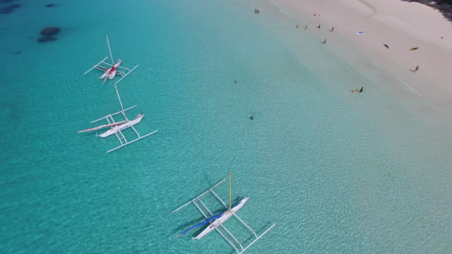 Aerial view of outrigger boats on Boracay Island