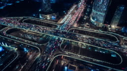 T/L Aerial View of Overpass and City Traffic at Night / Beijing, China