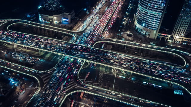 t/l pan aerial view of overpass and city traffic at night / beijing, china - built structure stock videos & royalty-free footage