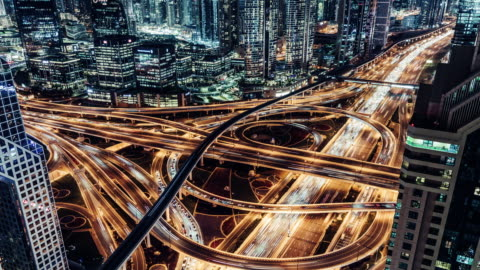 stockvideo's en b-roll-footage met t/l tu luchtfoto van viaduct en stadsverkeer 's nachts / dubai, vae - economie
