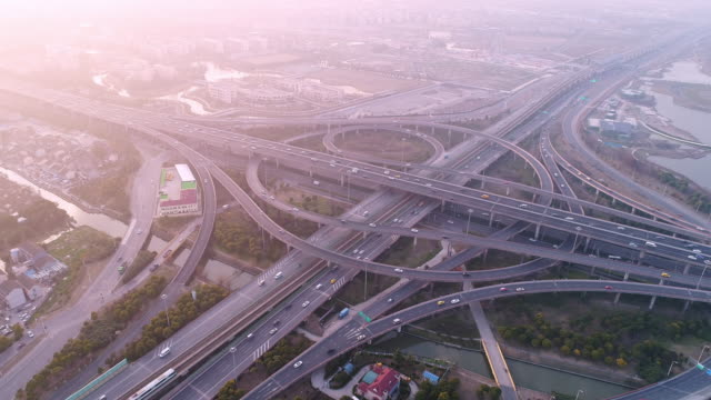 Aerial view of overpass at Shanghai pUdong in sunset