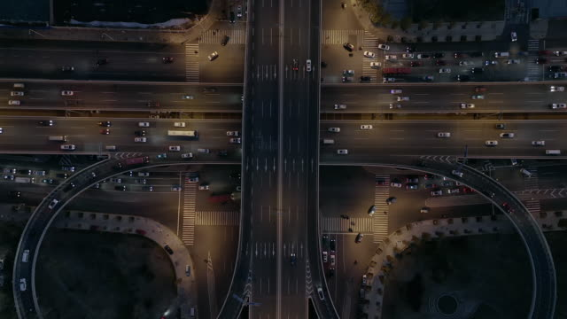 aerial view of overpass road junction - liyao xie stock videos & royalty-free footage