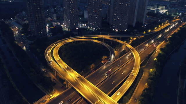 aerial view of overpass - liyao xie stock videos & royalty-free footage