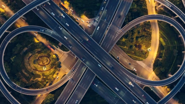 aerial view of overpass - motorway junction stock videos & royalty-free footage