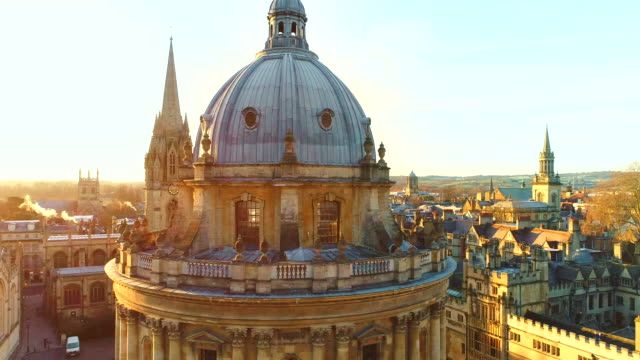 aerial view of oxford university, england uk. - oxford england stock videos and b-roll footage