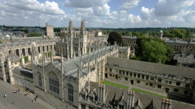 aerial view of oxford university featuring all souls college - oxford university stock videos & royalty-free footage