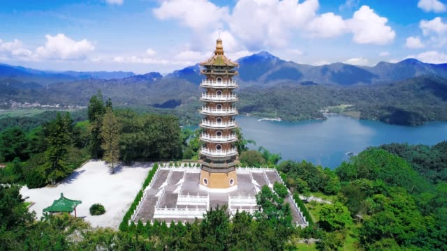 aerial view of pa cien pagoda in nantou, taiwan pacien pagoda, sun moon lake, nantou, taiwan - wen wu temple stock videos and b-roll footage