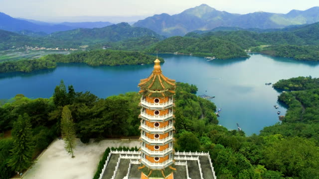 aerial view of pa cien pagoda in nantou, taiwan - wen wu temple stock videos and b-roll footage