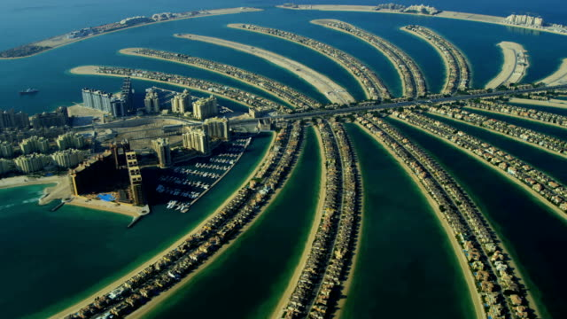 aerial view of palm jumeirah, dubai - dubai stock videos & royalty-free footage