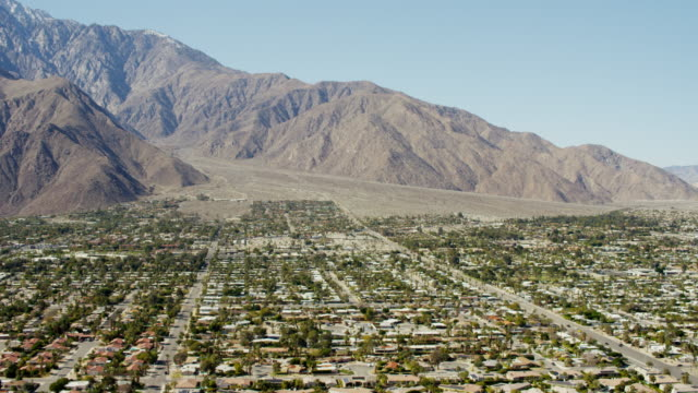 aerial view of palm springs california us - palm springs california stock videos & royalty-free footage