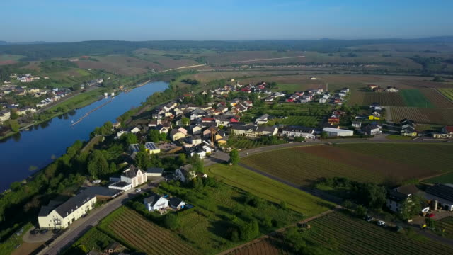 aerial view of palzem, upper moselle valley, canton trier-saarburg, rhineland-palatinate, germany - upper palatinate stock videos & royalty-free footage