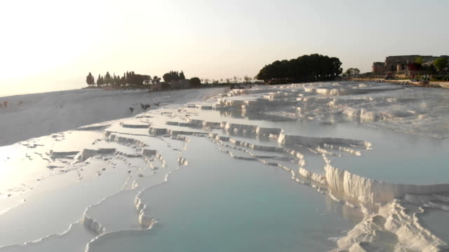 aerial view of pamukkale - ice crystal stock videos & royalty-free footage