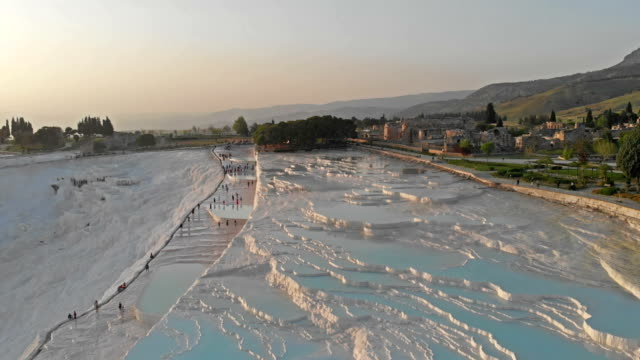 aerial view of pamukkale - hot spring stock videos & royalty-free footage