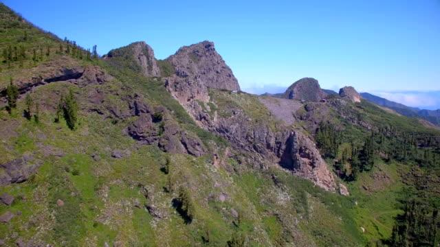 Aerial View of Panoramic view of Los Roques - Volcano Roque de Ojila, Roque de la Zarcita, Mirador de los Roques in the Garajonay National Park on Canary Islands La Gomera