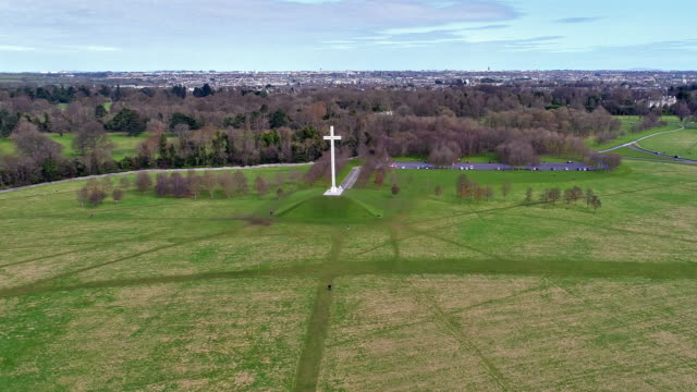 aerial view of papal cross in phoenix park dublin ireland - christianity stock videos and b-roll footage