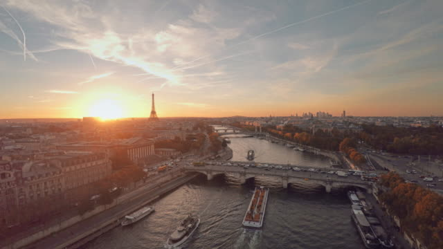 aerial view of paris during sunset - river seine stock videos & royalty-free footage