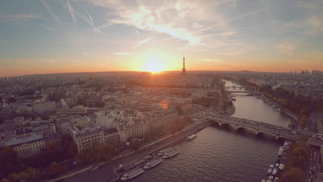 aerial view of paris during sunset - france stock videos & royalty-free footage