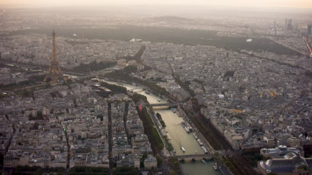 aerial view of paris france with eiffel tower, sunset - river seine stock videos & royalty-free footage