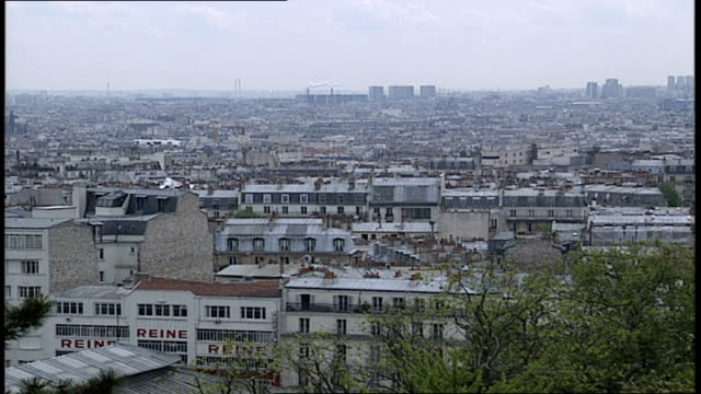 aerial view of paris from montmartre - anno 2002 video stock e b–roll