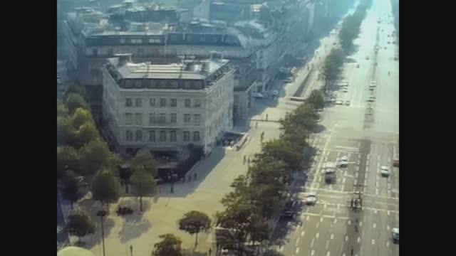 aerial view of paris in 70's - skyline stock videos & royalty-free footage