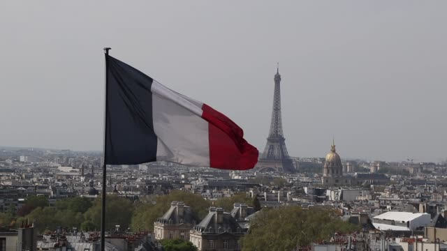 aerial view of paris - french flag stock videos & royalty-free footage