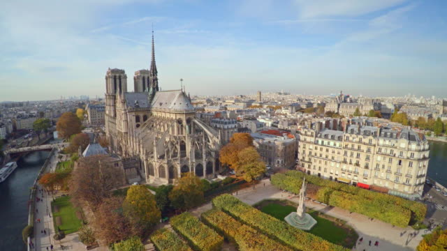 aerial view of paris with notre dame cathedral - paris france stock videos and b-roll footage