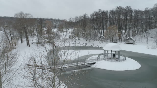 stockvideo's en b-roll-footage met aerial view of park feofania after a heavy snowfall - gazebo